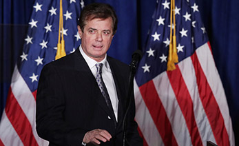 "WASHINGTON, DC - APRIL 27:  Paul Manafort, advisor to Republican presidential candidate Donald Trump's campaign, checks the teleprompters before Trump's speech at the Mayflower Hotel April 27, 2016 in Washington, DC. A real estate billionaire and reality television star, Trump beat his GOP challengers by double digits in Tuesday's presidential primaries in Pennsylvania, Maryland, Deleware, Rhode Island and Connecticut. ""I consider myself the presumptive nominee, absolutely,"" Trump told supporters at the Trump Tower following yesterday's wins.  (Photo by Chip Somodevilla/Getty Images)"