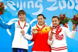 competes in the weightlifting event at the Beijing University of Aeronautics & Astronautics Gymnasium on Day 7 of the Beijing 2008 Olympic Games on August 15, 2008 in Beijing, China.