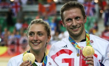 RIO DE JANEIRO, BRAZIL - AUGUST 16:  Jason kenny  and Laura Trott of Great Britain pose with their Gold medals at Rio Olympic Velodrome on August 16, 2016 in Rio de Janeiro, Brazil. (Photo by Ian MacNicol/Getty Images)