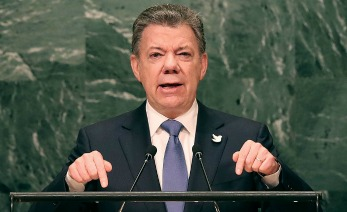 NEW YORK, NY - SEPTEMBER 21:  Colombia's President Juan Manuel Santos addresses the General Assembly at the United Nations on September 21, 2016 in New York City. Presidents, prime ministers, monarchs and ministers are gathering this week for the United Nation's General Assembly's annual ministerial meeting.  (Photo by Spencer Platt/Getty Images)
