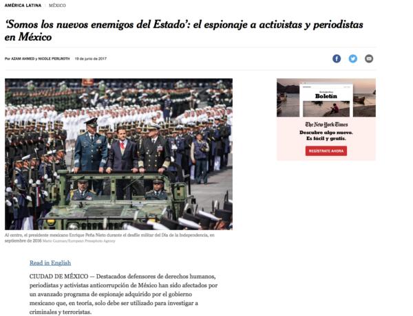 Resultado de imagen para New York Times: Periodistas y activistas fueron espiados en México