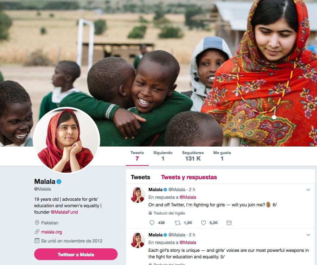 Malala se estrena en Twitter