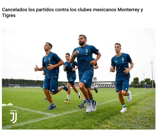 Juventus cancela su participación en la Supercopa Tecate