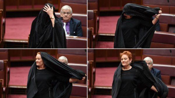 Acude senadora al Parlamento australiano con burka