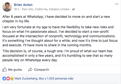 Su cofundador, Brian Acton, se va de la empresa — WhatsApp