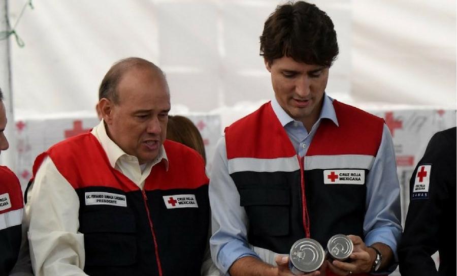 Justin Trudeau llegó a México, Trudeau visita México, Justin Trudeau y Peña Nieto, Trudeau en la Cruz Roja