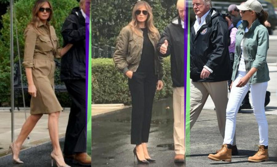 Melania Trump, Primera dama, Primera dama de Estados Unidos, Estados Unidos, Puerto Rico, Donald Trump, Presidente de Estados Unidos, Texas, Huracán Harvey, Huracán María, Vestimenta Melania Trump, Look Melania Trump, Trump