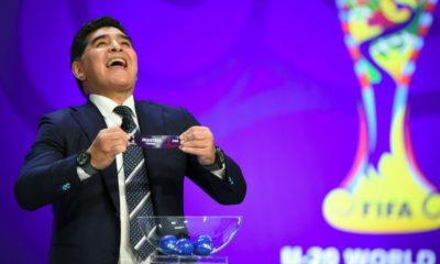 Maradona en el Sorteo del Mundial de Rusia 2018 / Fuente: airesdelaciudad.com