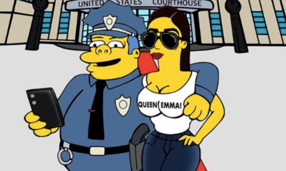 Emma Coronel como un personaje de 'The Simpson'