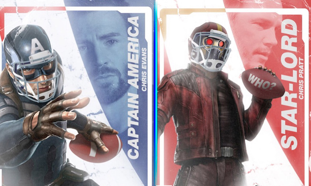 Captain America y Star-Lord en la NFL