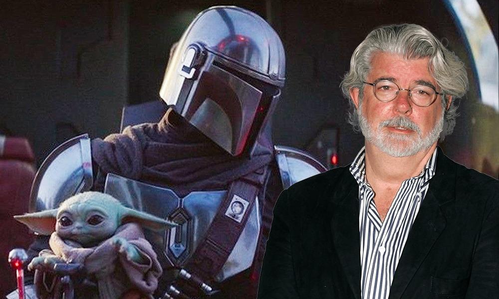 Foto de George Lucas con baby Yoda