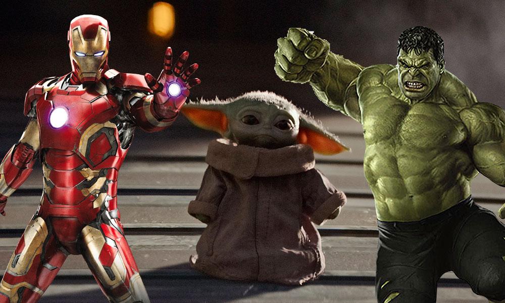 baby Yoda con el cuerpo de Hulk